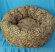 "Starbarks Pet Beds Small 18"" Washable Nesting Bolster Donut Leopard Dog Bed USA"