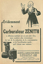 Publicité Carburateur ZENITH automobilia car illustrateur 1927 réclame