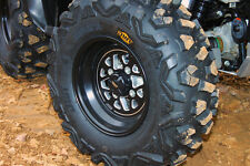 """DWT STEALTH WHEELS RIMS & MOAPA 26"""" TIRES MOUNTED YAMAHA GRIZZLY 700 660 570"""