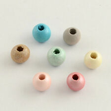 100pcs 8mm Round Wood Wooden Beads Dyed Multi Color Mixed Colours Large Hole 4mm