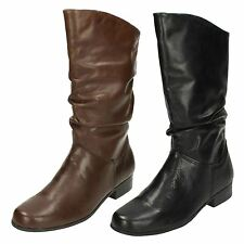Ladies Black / Brown Leather Collection Mid Calf Boots UK Sizes 3 - 8.5 F50694