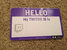 Twitch Hello My ID Is Name Tag Sticker *RARE/NEW* PAX Prime 2015 2016 Twitch.tv