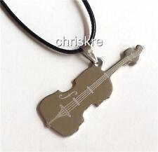 Silver Stainless Steel Violin Pendant Music Musician Gift Necklace USA Seller