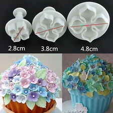 3pcs Hydrangea Flower Plunger Mould Cake Decorating Fondant SugarCraft Cutters