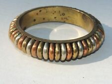 Mid Century Modern Brass & Copper Mixed Metals Wide Bangle Cuff Bracelet