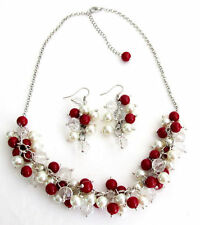 Red And White Cluster Necklace Set Christmas, Mother,Sister,Girl Friend Gift