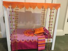 American Girl Doll Julie's Canopy Bed & Bedding EUC