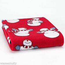 Red Winter Snowman Lightweight Accent Fleece Throw Decorative Blanket