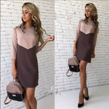 New Fashion Colorblocked Casual Tops Long Sleeve Evening Party Mini Shirt Dress