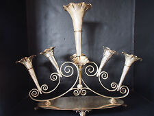 "Monumental Antique Victorian Sheffield Epergne 7 Trumpet Vase Centerpiece 18"" FC"