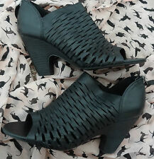 Franco Sarto 'Salito' Peep Toe Booties Ankle Boots Black Leather Brand New 4 UK