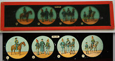 Ancienne plaque magic lanterne magique fin XIX Coll Officier Soldat Cavalier 12