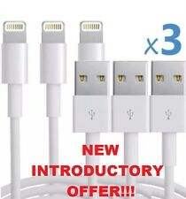 3 x IPHONE LIGHTNING CABLES USB CHARGER - 1M LONG for iPhone 5 5S 6 6S 7 & iPad