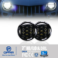 2x 7''Inch Round LED Headlight Hummer Lights & DRL For Jeep Wrangler JK TJ 97-16