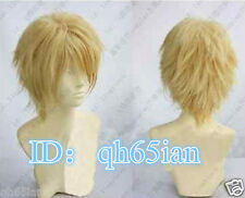 Fashion sexy Mens boy Short golden blonde Cosplay Natural Hair Cosplay Wigs/wig