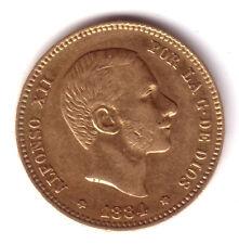 ESPAÑA 25 pesetas oro 1884 estrellas perfectas *18* *84* Rey Alfonso XII