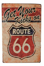Get Your Kicks Route 66 Tin Sign Bar Cafe Diner Garage Wall Decor Retro Vintage