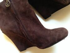 Sam Edelman Wilma Brown Suede Leather Wedge Ankle Boots Size 6 M