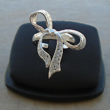 ".925 Sterling Silver Large Fancy Bow Ring Size 7.5"" Matt Look Hall Solid N S New"