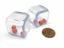 Pack of 2 '3 In a Cube' Dice - Three 5mm Red Tiny Dice Inside 25mm Clear Cube