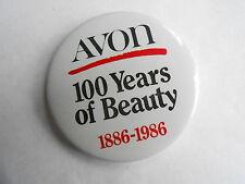Cool Vintage 1886 - 1986 Avon Cosmetics 100 Years of Beauty Advertising Pinback