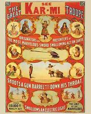 Vintage Antique  Rare  POSTER  1920's Kar-Mi  Magic Show Magician Circus Freak