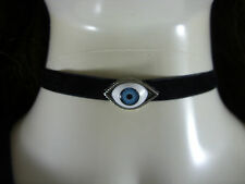 "A Lucky Evil Eye Charm Black 10mm Velvet Cord 13"" Choker Necklace Wiccan Pagan"