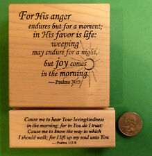 Joy Comes in the Morning, 2 Piece Wood Mounted Scripture Rubber Stamp Set