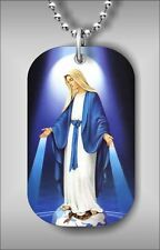 "VIRGEN MARY IN BLUE #3 DOG TAG PENDANT and ""FREE CHAIN"" kl54ed"