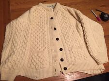 EUC Aran Sweater Market Irish Cream  Cardigan 100%  Wool Women's Medium