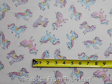 Unicorn Princess Horses Pony  Silver Glitter on Pink  BY YARDS TT Cotton Fabric
