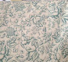 Antique  Vintage Style  Toile  Cotton floral Fabric Claudia Green & Cream