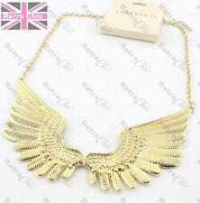 BIG ANGEL WINGS NECKLACE feather METAL COLLAR vintage gold/antique silver pltd