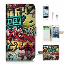 iPod Touch 6 iTouch 6 Flip Wallet Case Cover! P0744 Graffiti Music