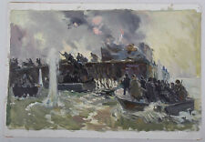 Oil Study Painting on Board Naval Combat Battle War Ships at Sea Signed on Back
