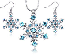 Aqua Snowflake Wedding Bridesmaid Necklace Earrings Set Anniversary Jewelry s4a