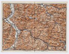 1911 ANTIQUE MAP VICINITY OF BAD RAGAZ CHUR LIECHTENSTEIN ALPS SWITZERLAND