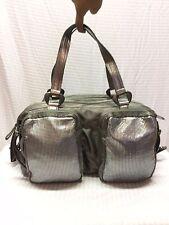 Francesco Biasia Gray Shoulder Bag, Purse Top Handle, Metal Mesh bag