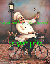 Kitchen Art Poster/Fat Chef Riding a Bicycle/Bistro/Wine/ French Cook/16x20 inch