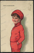 schlauberger-Junge/Knabe Rot-Cute Teen Boy Red Dress -Berlin-1918-Künstlerkarte