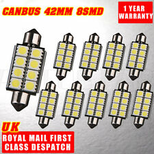 42MM 8 SMDs 5050 LED C5W White Canbus Error Free Number Side Festoon Dome Light
