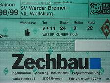 TICKET 1998/99 SV Werder Bremen - VfL Wolfsburg