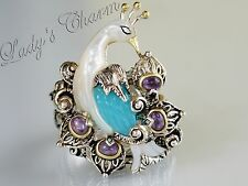 Barbara Bixby Blue Chalcedony Amethyst Peacock Sterling 18k Gold Ring Size 8.5