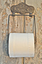 CLASSIC EDWARDIAN CAST IRON AND WOODEN TOILET ROLL HOLDER DOOR WALL HOLDER PH4