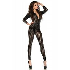 Nouveau noir wet look hollow out detailed combinaison, catsuit club wear taille uk 10-12