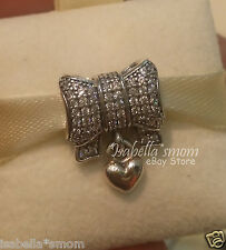 HEART & BOW Authentic PANDORA Sterling Silver/Clear CZ CHRISTMAS Charm/Bead NEW