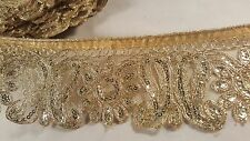 "2 2/3"" wide- Gorgeous floral embroiderd with sequins lace trimming edging 1 mtr"