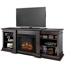 Walnut TV Entertainment Center w Electric Fireplace Heater Shelf Console Stand