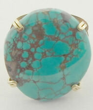LADIES TURQUOISE GOLD FILLED WIRE WRAPPED RING SIZE 5 1/2