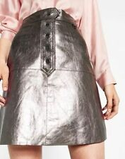 ZARA Woman BNWT Silver Metallic Leather Skirt  EU/UK/US XS  Ref. 7418/241